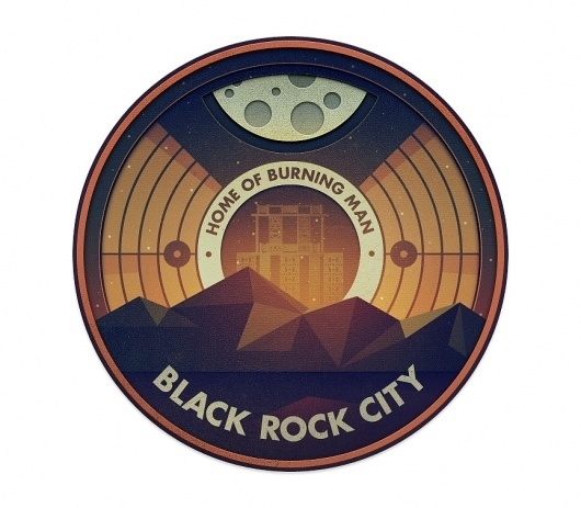Black Rock - The Everywhere Project #mezzell #justin #badge #rock #burning #city #black #illustration #man #moon