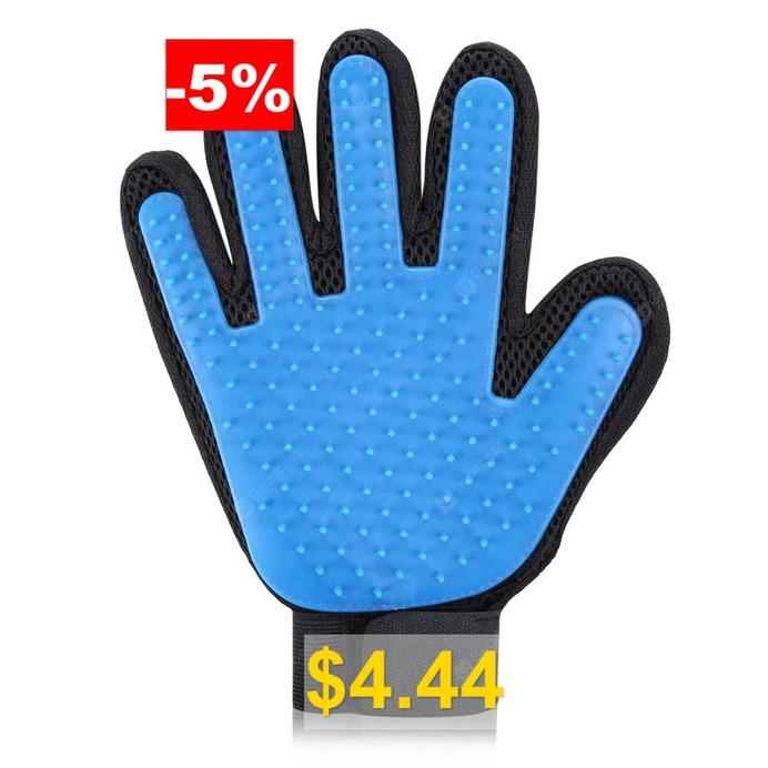 Pet #Care #Grooming #Glove #Brush #- #BLUE
