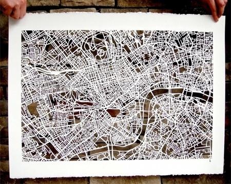 Amazing Hand Cut Map Art #outline #map #cutout