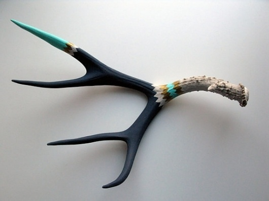 Etsy Transaction - Gold, Aqua and Navy Double Chevron Mule Deer Antler - Large #interior #taxidermy #design #paint #wall #art