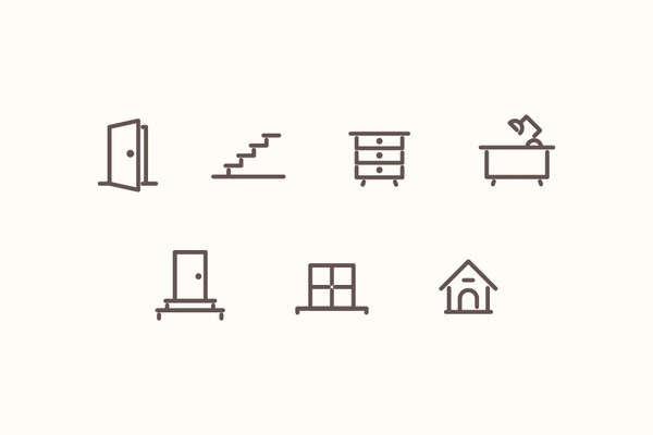 Furniture icons set #icon #symbol