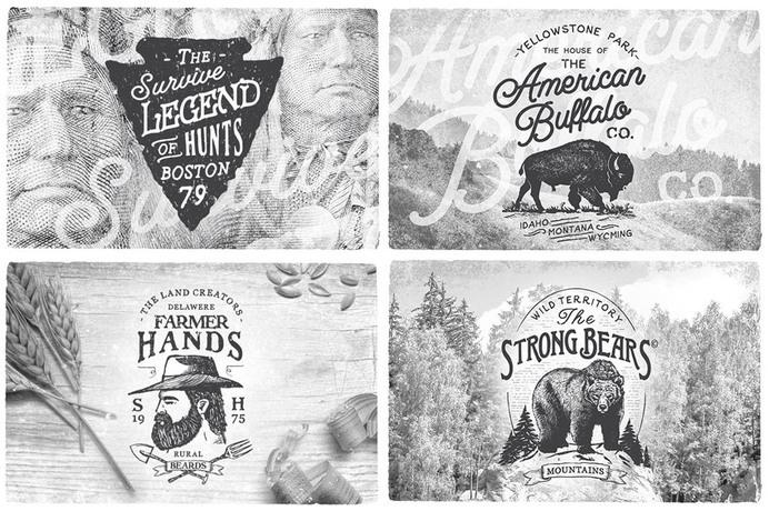 American Vintage Badges #logo #lettering