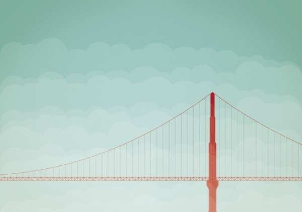 soon - thomasvogt #fog #san #gate #illustration #golden #francisco #bridge #minimalist