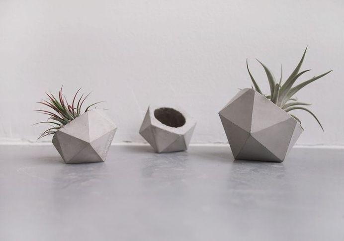 concrete icosahedron planter by frauklarer #concrete #concretedesign #cement #design #interior #industrial #purstic #minimalstic #minimalism