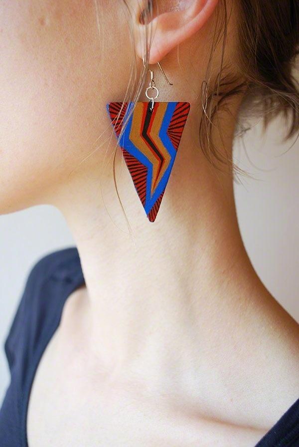 Zaczarowana Walizka #electric #earring #stripes #upcycling #jewellery #triangle #jewelry #recycling #lightning #made #hand