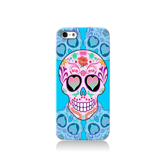 Blue Sugar Skull iPhone case #phonecase #design