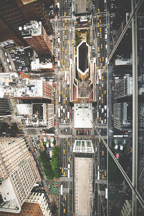 Aerial shot of New York streets
