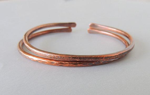 Copper Bangles, Warm Rustic Copper Bangle, Handforged Modern Copper Bracelets #copper #bracelet
