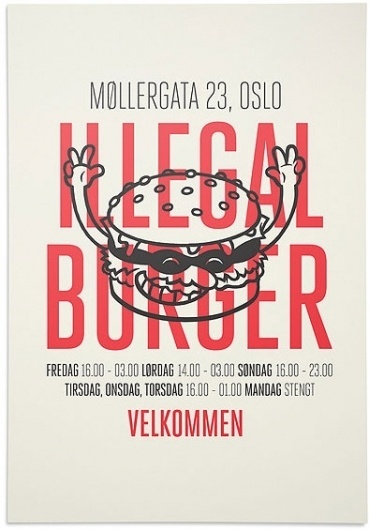 design work life » The Metric System: Illegal Burger #burger #print #identity