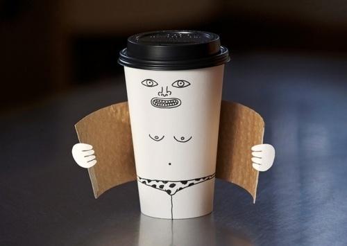 enjoy* #leopard #speedos #exhibitionist #illustration #latte #coffee #cup