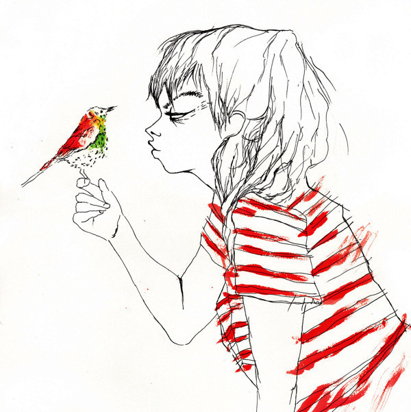 illustrations on Behance #ink #red #bird