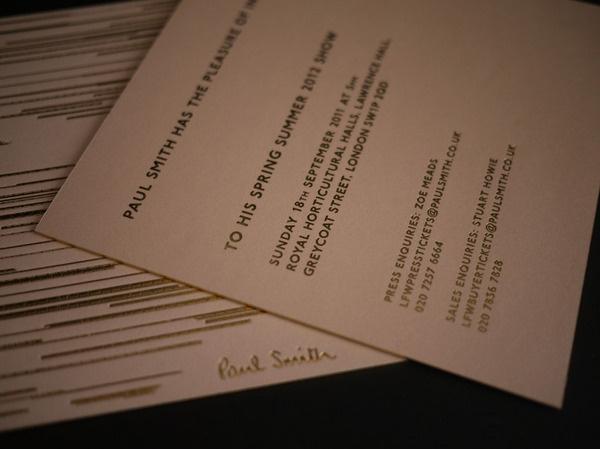 Paul Smith #fashion #invite #lfw #ss12