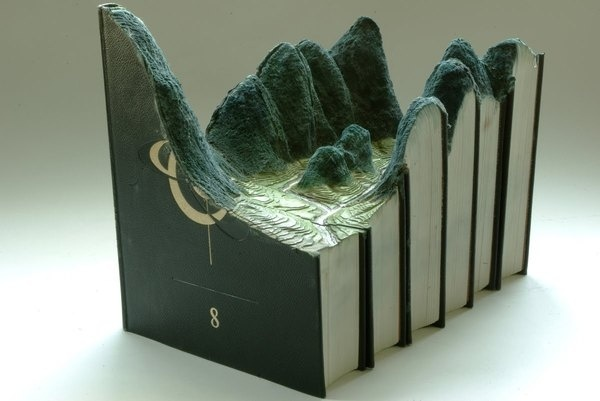 Carved Book Landscapes by Guy Laramee #sculpture #laramee #book #paper #art #guy