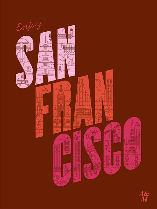 Enjoy San Francisco Poster #lines #red #illustration #poster #typography