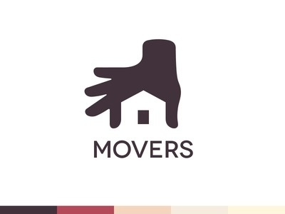 Movers Logo Design by http://ramotion.com #house #branding #negative #design #home #space #brand #real #identity #logo #estate #hand