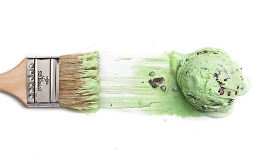 tumblr_lsbgcmi0il1qzh0vno1_500.jpg (500×316) #cream #pistachio #paint #brush #ice