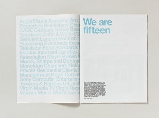 Fifteen newspaper | Cartlidge Levene / Bench.li #typography
