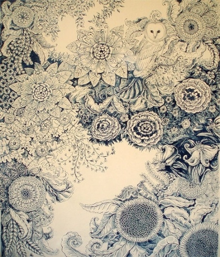 coqueterías - (via misswallflower) #blue #illustration #floral