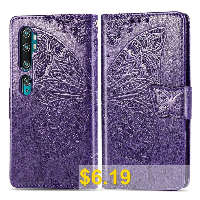 Butterfly #Embossing #Leather #Wallet #Phone #Case #for #Xiaomi #Mi #Note #10 #/ #CC9 #Pro #- #PURPLE