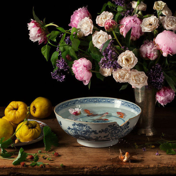 Flowers and Fish III, after G.V.S. #fish #color #fruit #bowl #photography #art #life #still #colour #flowers