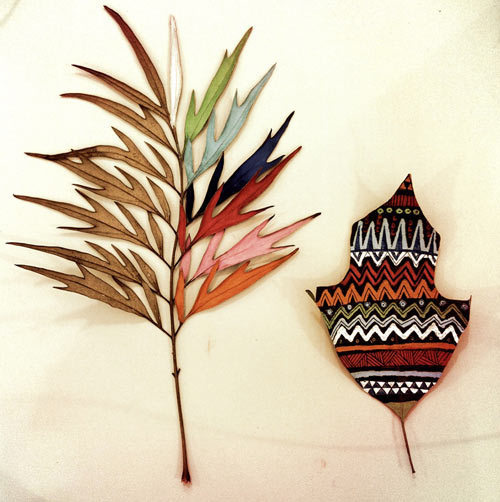 Art Meets Nature: Painted Leaves by Gabee Meyer Photo #pattern #ethno #leaf #painting #leaves