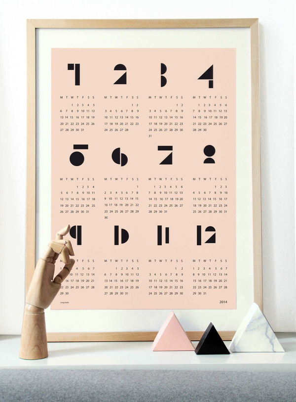 Image of snug.calendar 2014, white and softpink #print #calendar #typography