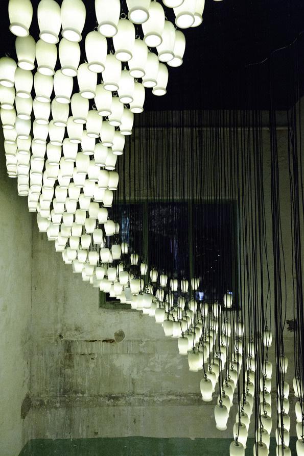It's Nice That : 1,664 reused yoghurt pots + bucket loads of creativity = stunning light installation #lighting #installation