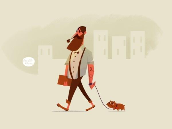 Chacter drawn for Gentelman Magazine by Laszlito Kovacs #laszlito kovacs #magazine illustration #editorial #character design #walking dog #p