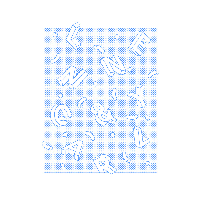 Falling Alphabet - Lenny and Carl #illustration #dots #minimal #graphic #vector #bold #typography #blue #type