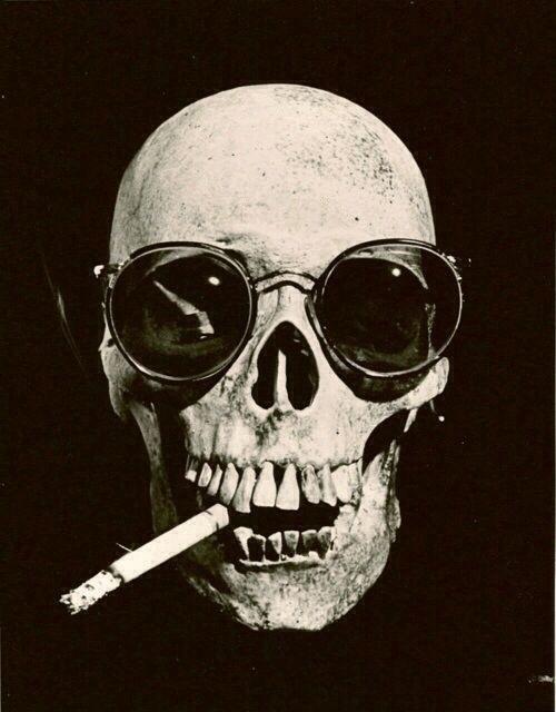 skull with cigarette and sunglasses #cigarette #skull #sunglasses