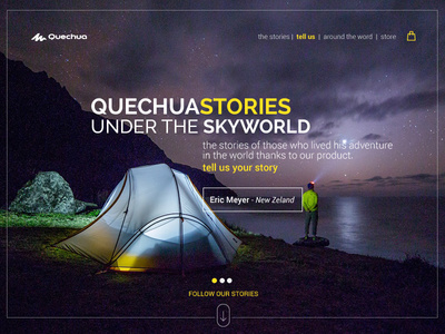 Landing Page - Daily UI #3 Quechua stories - personal project Concept landing page #landing #landingpage #ui #uidesign #web #webdesign