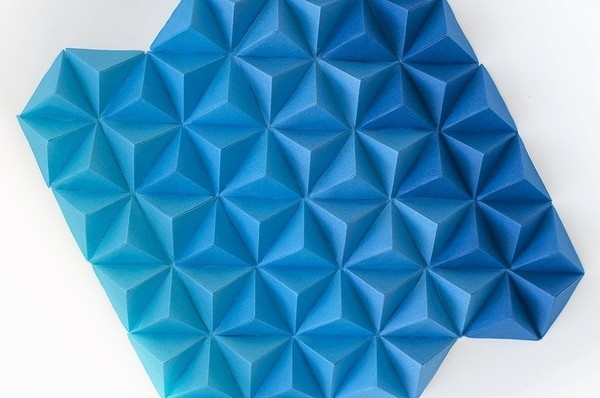 Blue Paper Tops, by Cecilia Hedin #mountain #geometry #modern #triangle #minimal #gradient #pyramid #blue