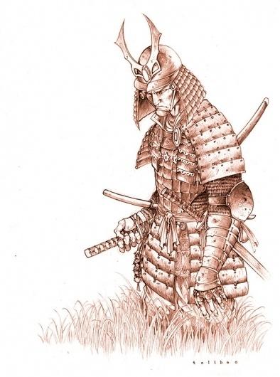 Samurai on the Behance Network #sepia #comic #illustration #samurai #sketch
