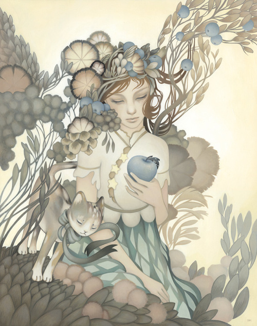Amy Sol #plants #muted #girl #floral #cat