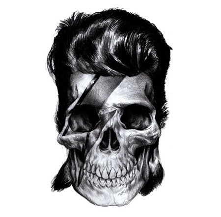 slyAPARTMENT #white #black #hair #and #skull #drawing #bowie