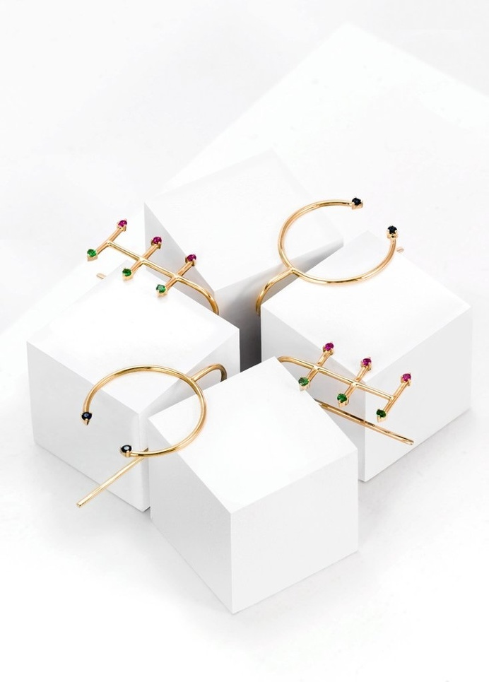 Fine jewellery earrings by SMITH/GREY #ring #jewellers #jewelry #earrings #finejewellery #gemstones #gold #cubes #setup #artdirection