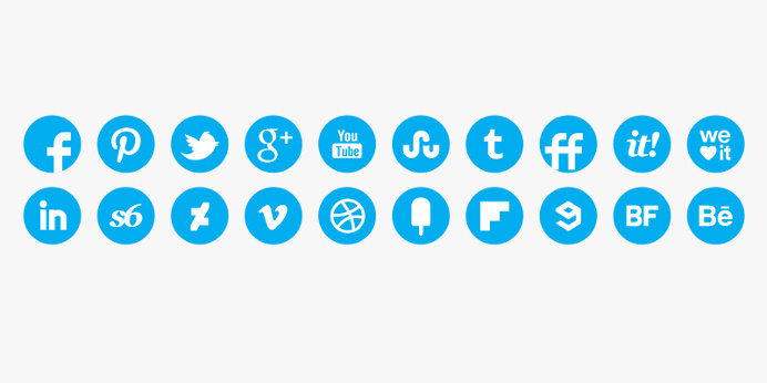 Social media icons in blue round style #icons #social #ui