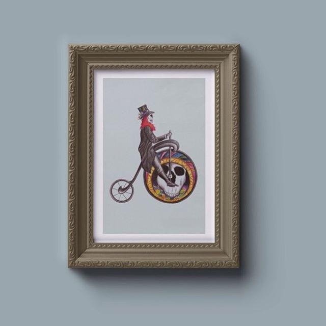 Ilustración para Día de Muertos. #illustration #pencil #artnouveau #bike #cyclingart_feature #cyclingart #prismacolor #oldbike #skull #dayofthedead