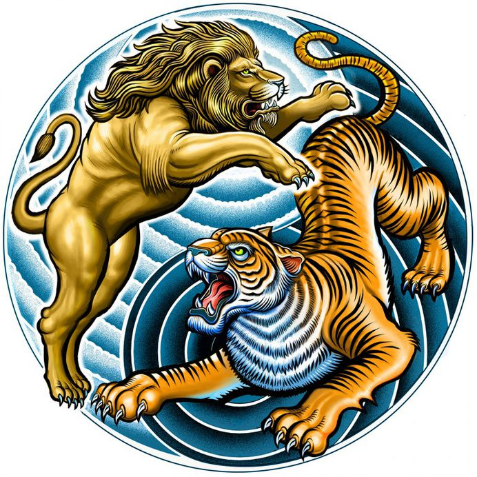 Lion and Tiger Yin Yang symbol by Curtis Illustration