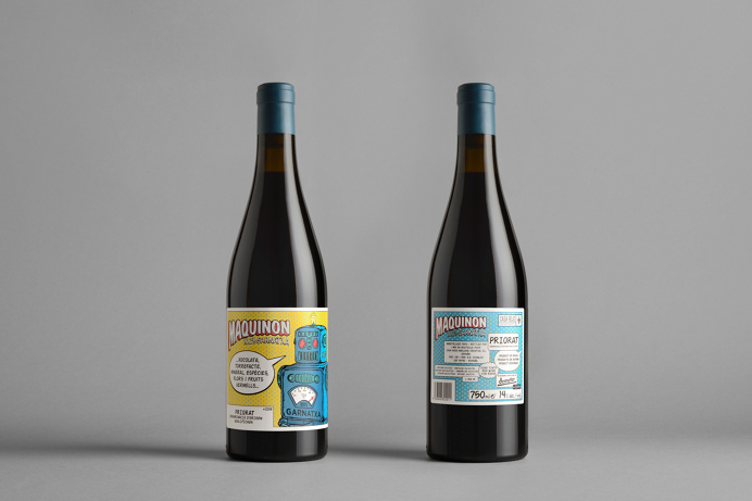 Maquinon, wine label by Estudio Maba #label #wine #bottle #comic #retro #color #robot