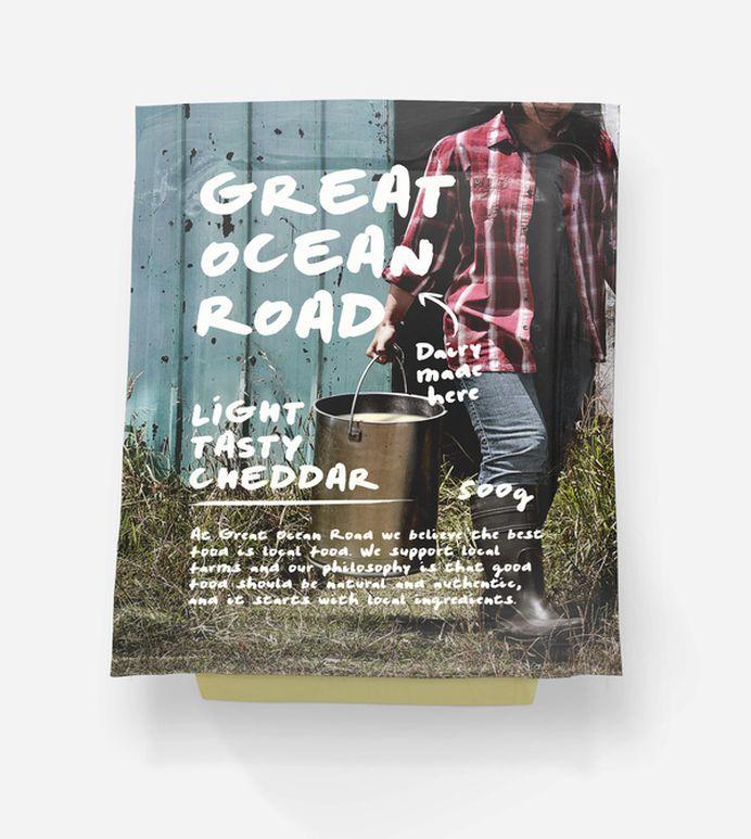 Great Ocean Road Dairy #ocean #warrnambool #dairy #cheese #packaging #cheddar #road #and #great #typography