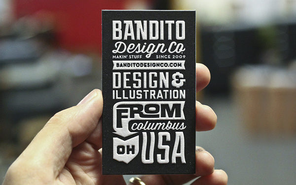 Bandito Card 2 #white #business #card #letterpress #black #and