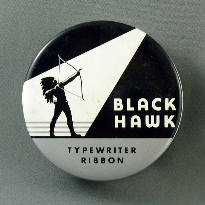 Black Hawk Typewriter Ribbon #packaging #grayscale #illustration #indian