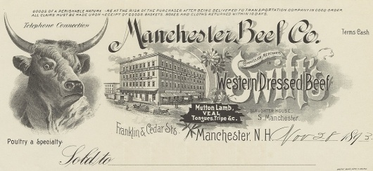 All sizes | Manchester Beef Co. (Manchester, New Hampshire) 1893 a | Flickr - Photo Sharing! #beef #victorian #print #manchester #advertising #vintage #typography