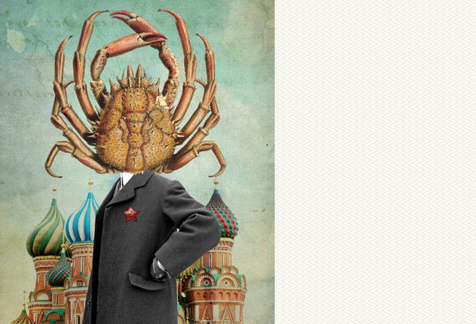 sonia roy, colagene.com #mosco #politic #photomontage #illustration #summer #flower #collage #editorial #magazine #crab