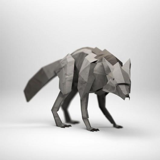 WANKEN - The Blog of Shelby White» Paper Sculptures by Jeremy Kool #design #craft #handmade #wolf #papercraft