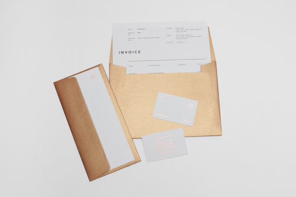 Pure Design Consultancy #binding #invoice #stamp #business #branding #print #copper #book #publication #metallic #screen #identity #gold #stationery #letterhead #cards #editorial