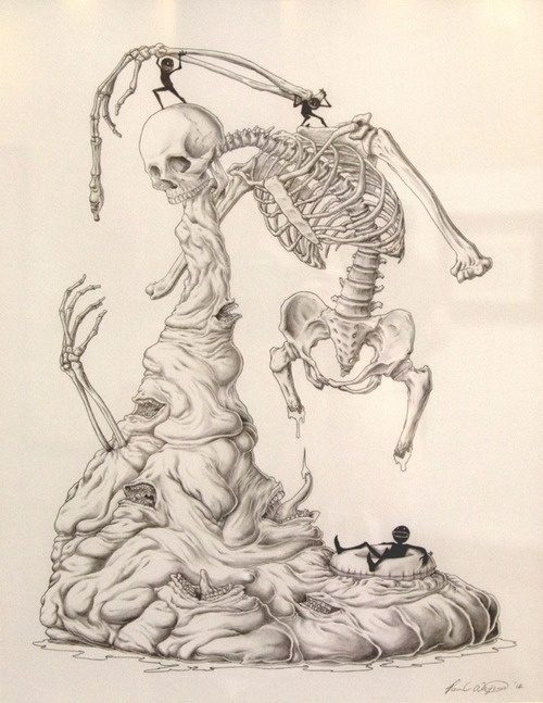 """Absolute Power of the Evil Tongue"" by Paul Waijman #skeleton #graphite #illustration #skull #bones"