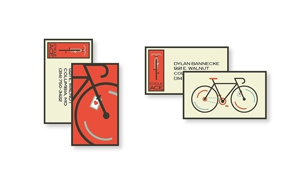 Cycle Ace Bike Academy on Behance #illustration #bike #hand #seat #bicycle #business #stationary #design #ace #wheel #brand #identity #type #2d #logo #minimalist #heart #flat #cards #typography #mark #card #graphic #corporate #minimal