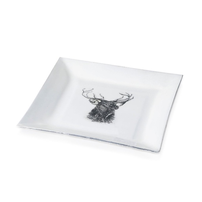 Stag Plate Square Aluminium And Enamel White 22cm x 22cm